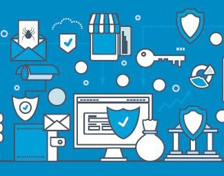 Light blue symbols for cybersecurity