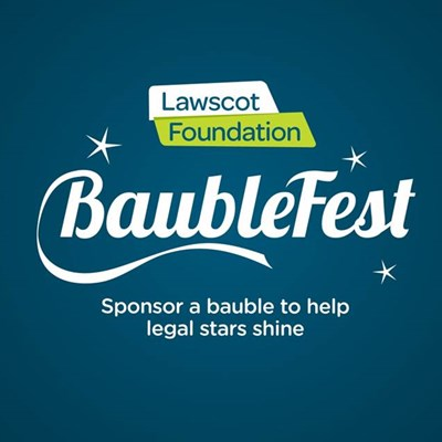 Lawscot Foundation logo and BaubleFest sign