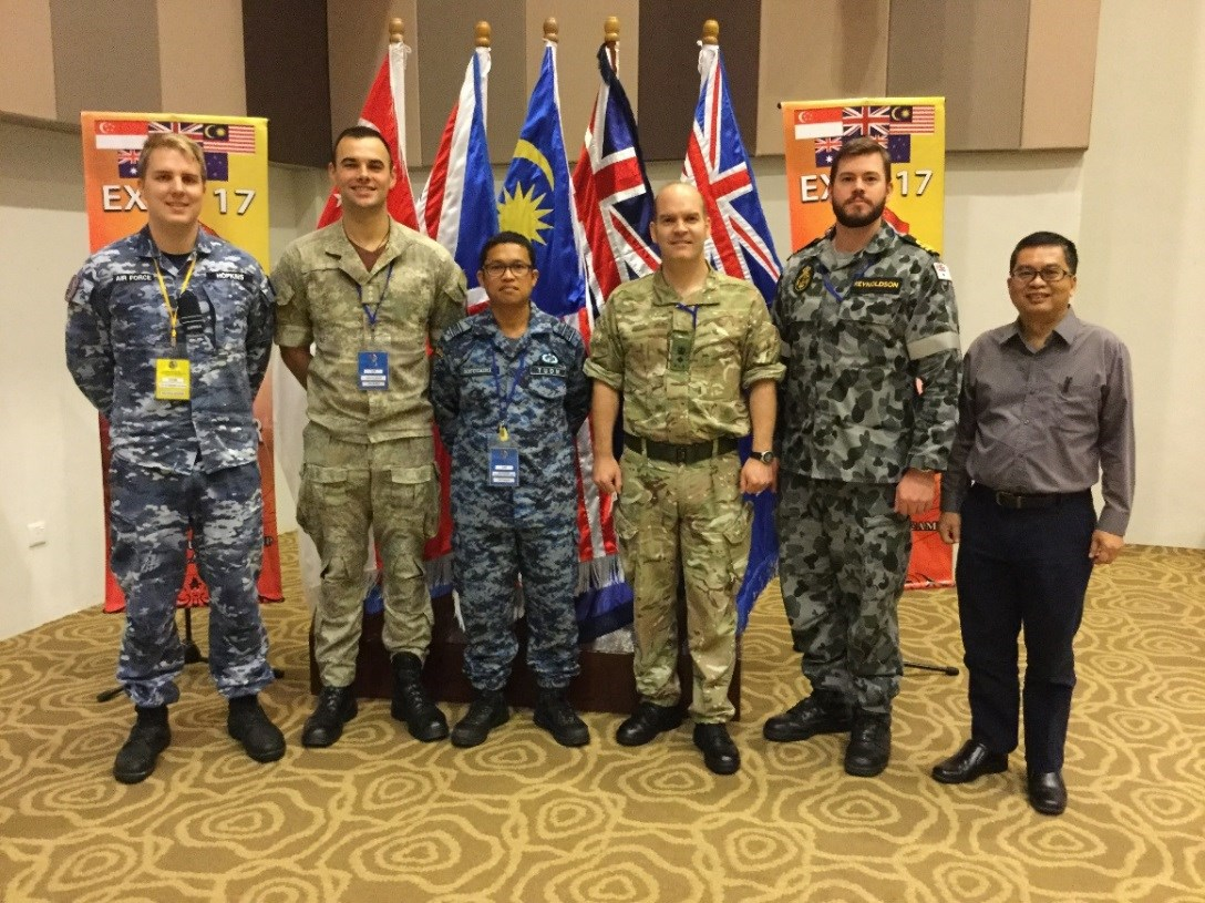 Legal officers on Ex SUMAN PROTECTOR, Malaysia – Oct 2017.  Lt Col E-P Grant is 4th from left.