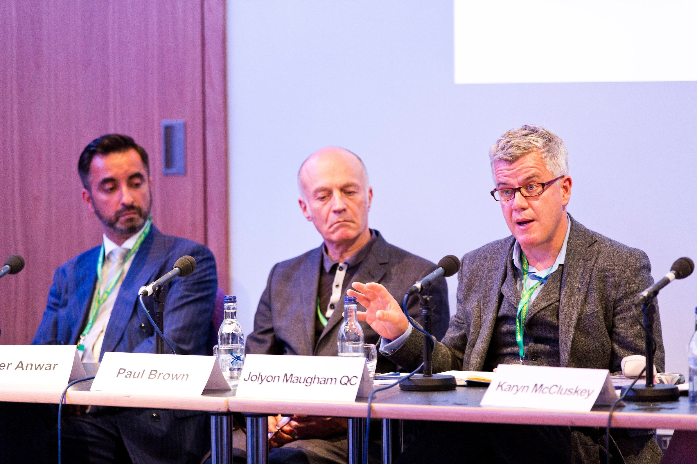 Access to justice panellists Aamer Anwar, Paul Brown and Jolyon Maugham QC
