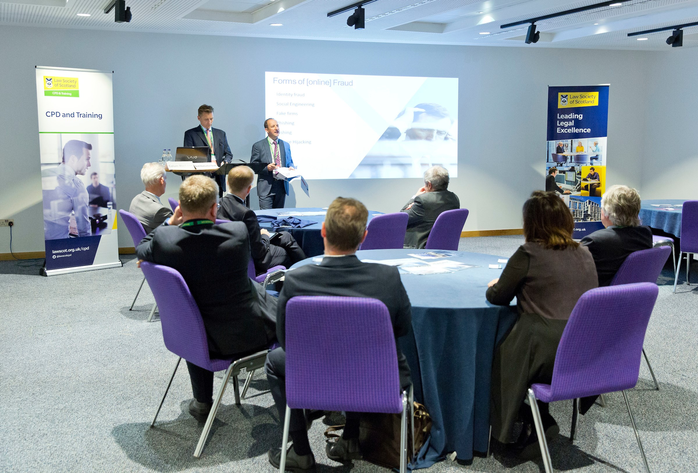 Brett Warburton-Smith and Calum MacLean from Lockton talk cyber security in a fringe session